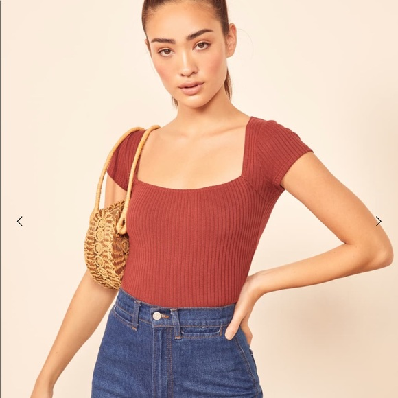 Reformation Bardot Top In Red by Reformation